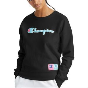 Large Champion Black Reverse Weave Sweatshirt